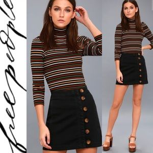 🆕 Free People Black Button-Front Mini Skirt